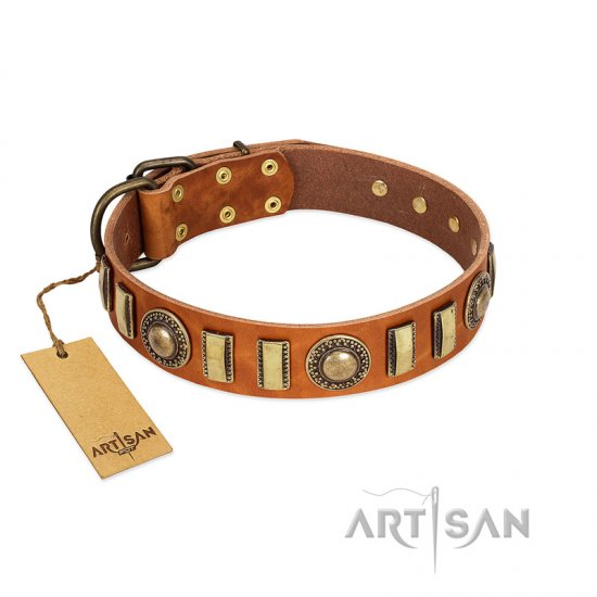"""Happy Hound"" FDT Artisan Tan Leather Boxer Collar with Elegant Decorations"