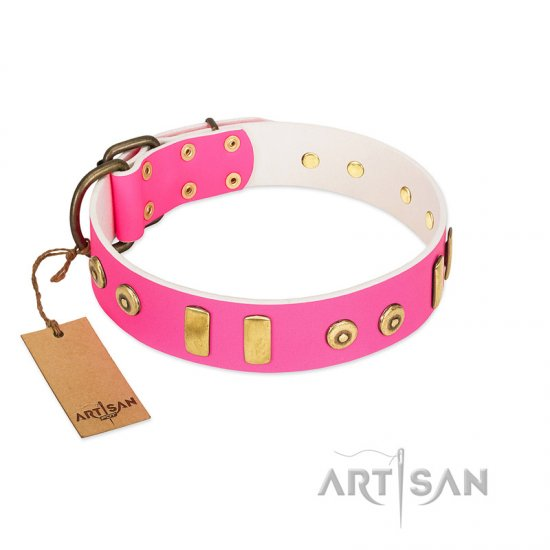 """Prim'N'Proper"" Handmade FDT Artisan Pink Leather Boxer Collar with Old Bronze-like Dotted Studs and Tiles"