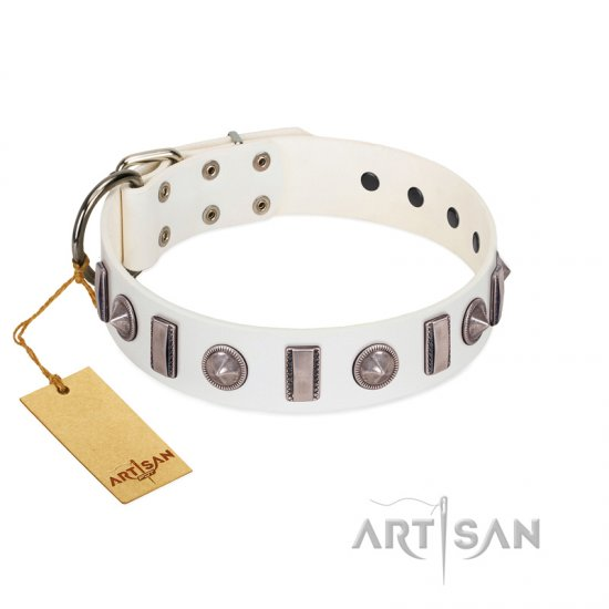 """Icy Spike"" Designer FDT Artisan White Leather Boxer Collar with Silver-Like Decorations"