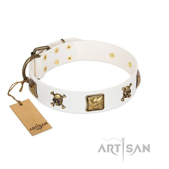 """Glo Up"" FDT Artisan White Leather Boxer Collar with Skulls and Crossbones Combined with Squares"