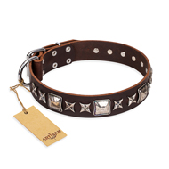 """Perfect Impression"" FDT Artisan Brown Leather Boxer Collar with Shining Studs - 1 1/2 inch (40 mm) Wide"