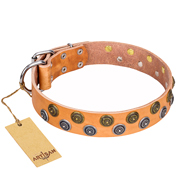 """Precious Sparkle"" FDT Artisan Leather Boxer Collar - 1 1/2 inch (40 mm) wide"