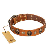 """Call of Feat"" FDT Artisan Tan Leather Boxer Collar with Old Bronze-like Studs and Oval Brooches"