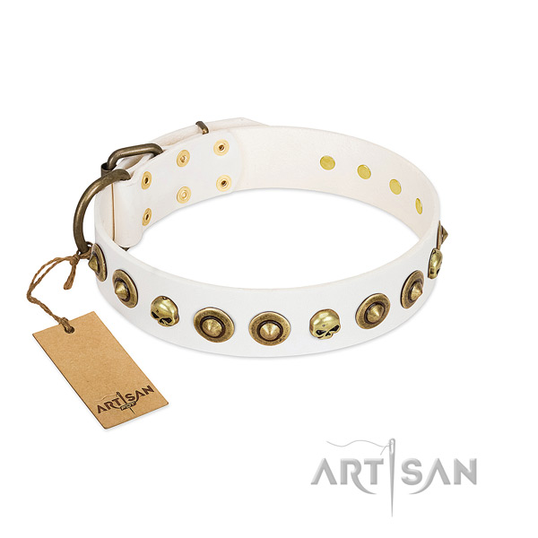 Full grain natural leather collar with awesome embellishments for your canine
