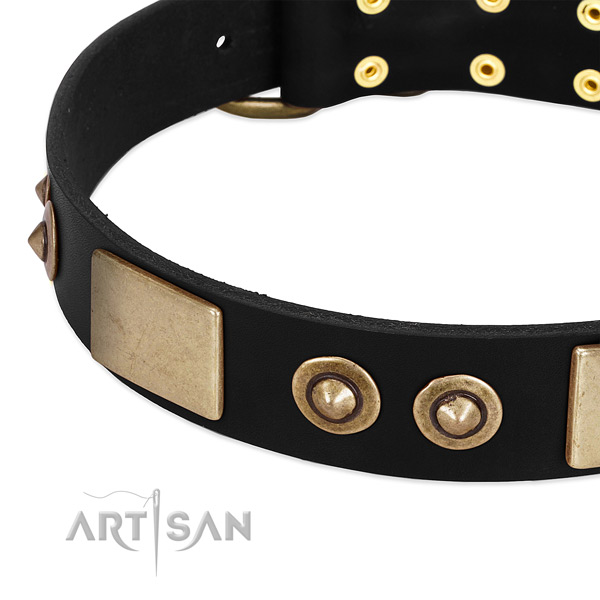 Durable fittings on leather dog collar for your doggie