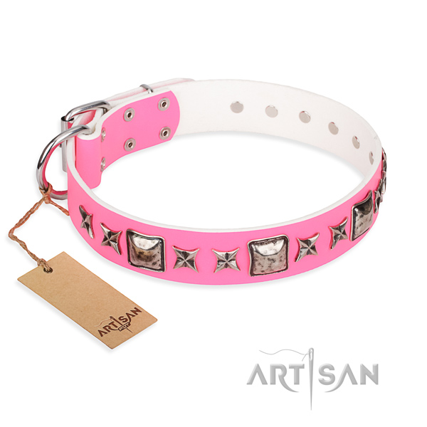 Full grain natural leather dog collar made of gentle to touch material with rust resistant buckle