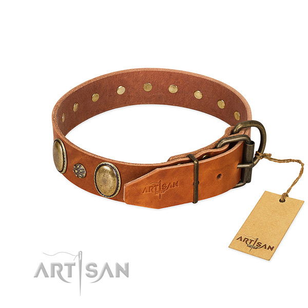 Everyday use flexible full grain natural leather dog collar