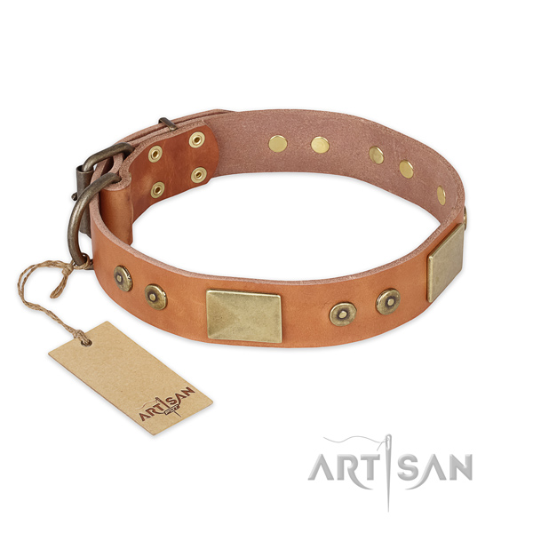Stylish design full grain leather dog collar for everyday walking