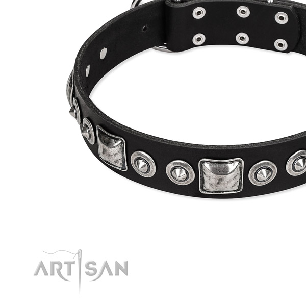 Natural genuine leather dog collar made of soft material with decorations