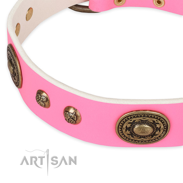 Embellished natural genuine leather collar for your attractive doggie