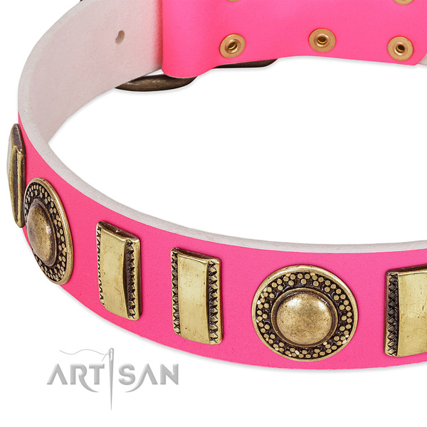 Flexible natural leather dog collar for your lovely canine