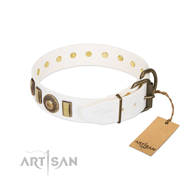 Embellished full grain genuine leather dog collar with durable buckle