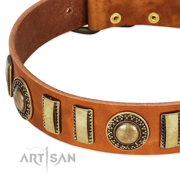Flexible full grain genuine leather dog collar with corrosion resistant traditional buckle
