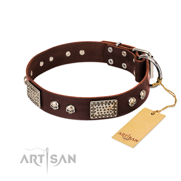 Adjustable full grain leather dog collar for daily walking your dog