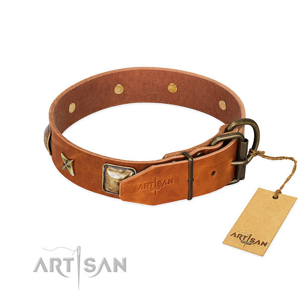 Natural genuine leather dog collar with corrosion resistant D-ring and decorations