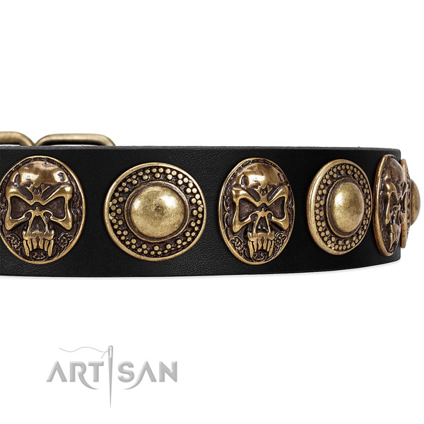 Full grain genuine leather dog collar with adornments for comfortable wearing