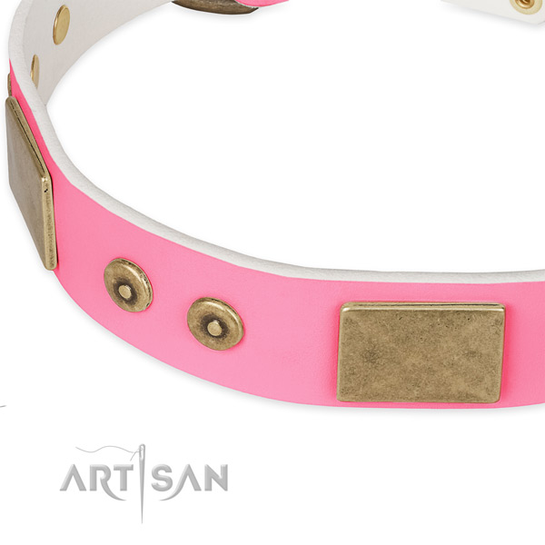 Natural genuine leather dog collar with studs for daily use