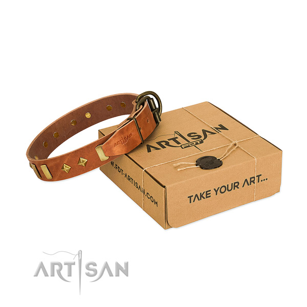 Comfortable wearing top notch full grain genuine leather dog collar with decorations