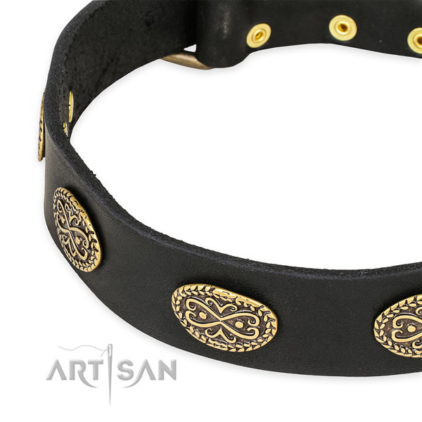 Embellished leather collar for your attractive pet