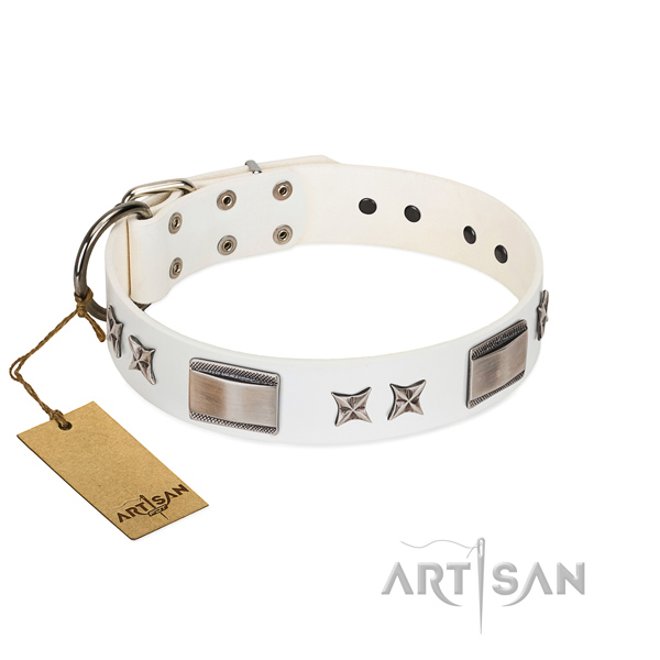Handmade dog collar of full grain natural leather