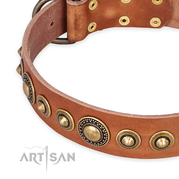 Gentle to touch leather dog collar handcrafted for your attractive four-legged friend