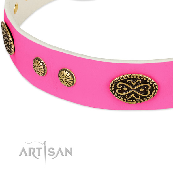 Corrosion proof decorations on natural leather dog collar for your canine