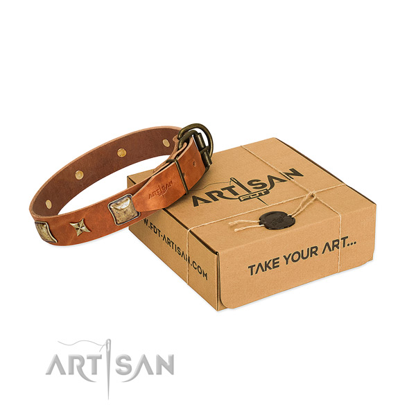 Convenient full grain leather collar for your attractive pet
