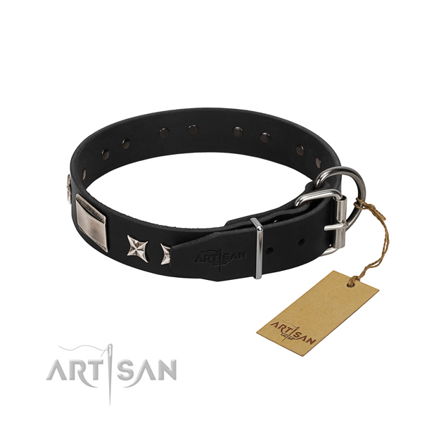 Top rate full grain leather dog collar with rust resistant buckle