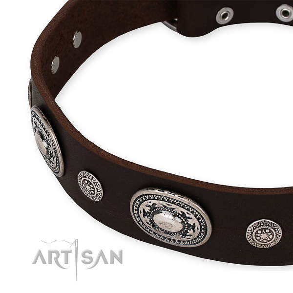 Reliable full grain genuine leather dog collar crafted for your attractive canine