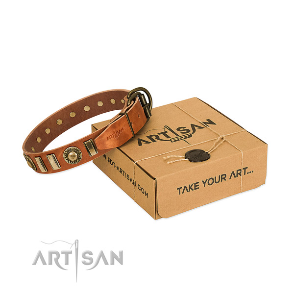 Gentle to touch full grain genuine leather dog collar with rust-proof hardware