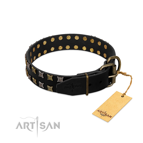 Quality full grain genuine leather dog collar crafted for your four-legged friend
