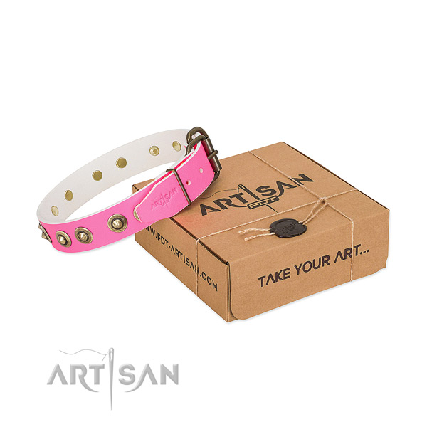 Unusual natural genuine leather collar for your handsome canine
