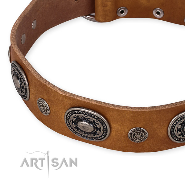 Top notch natural genuine leather dog collar made for your beautiful pet