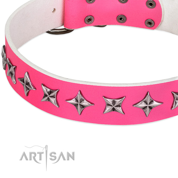 Daily use embellished dog collar of top quality genuine leather