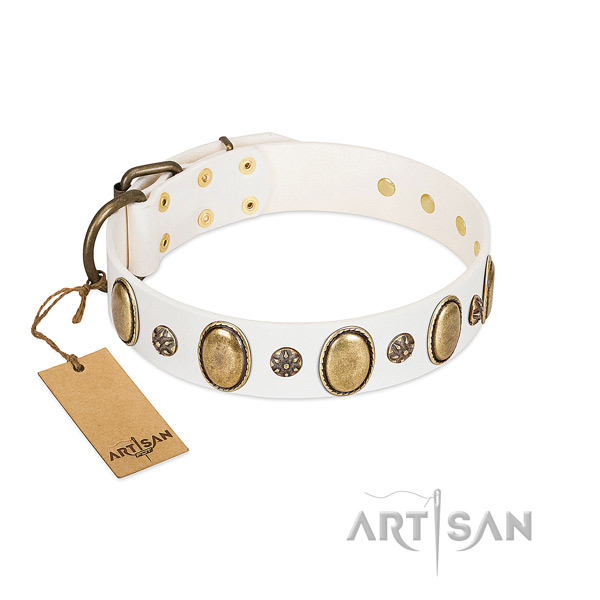 Handy use soft leather dog collar with adornments