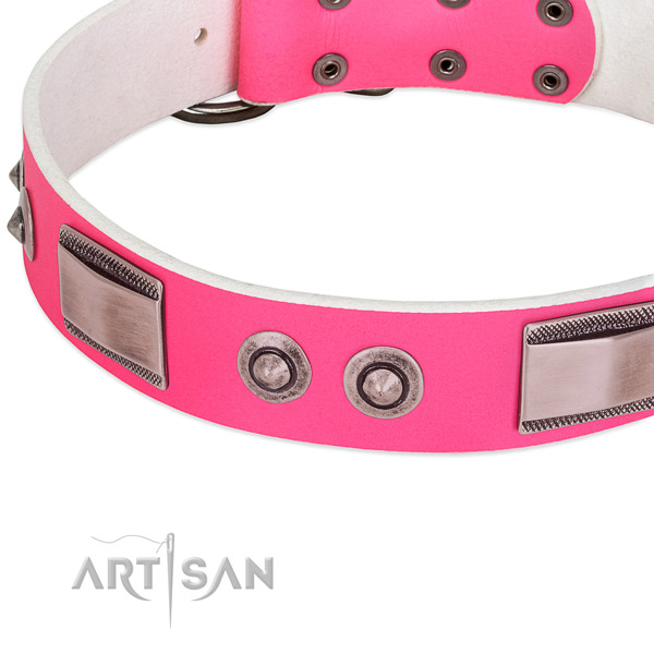 Exceptional full grain genuine leather collar with embellishments for your doggie