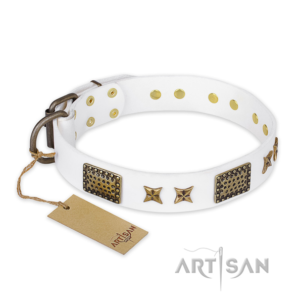 Easy wearing full grain leather dog collar with corrosion proof hardware