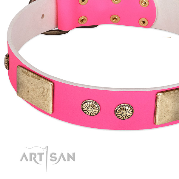 Rust-proof fittings on full grain leather dog collar for your canine