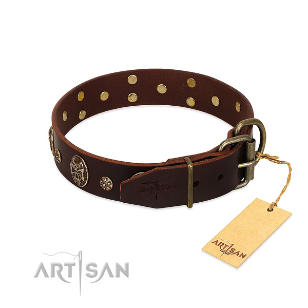 Rust resistant buckle on leather dog collar for your doggie