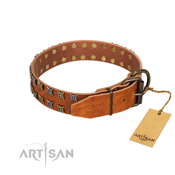 Strong natural leather dog collar crafted for your dog