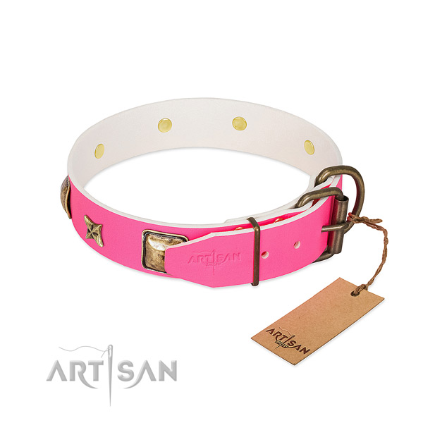 Strong buckle on natural genuine leather collar for fancy walking your pet