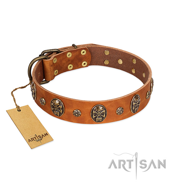 Impressive full grain genuine leather collar for your pet