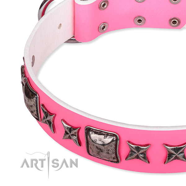 Basic training adorned dog collar of high quality full grain natural leather