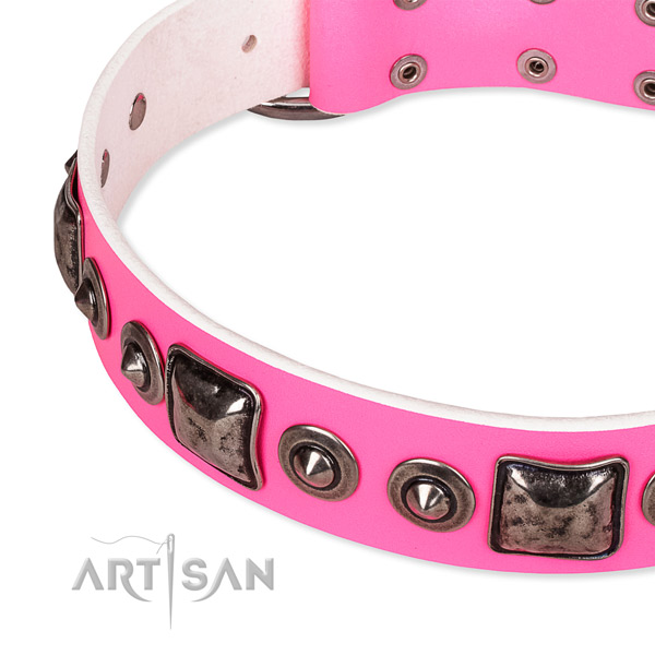 Top rate full grain genuine leather dog collar handmade for your beautiful canine