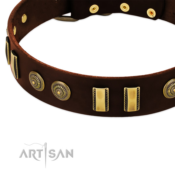Rust-proof fittings on leather dog collar for your canine