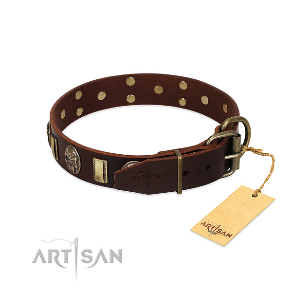 Natural genuine leather dog collar with rust-proof D-ring and studs