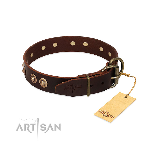 Rust resistant studs on genuine leather dog collar for your doggie