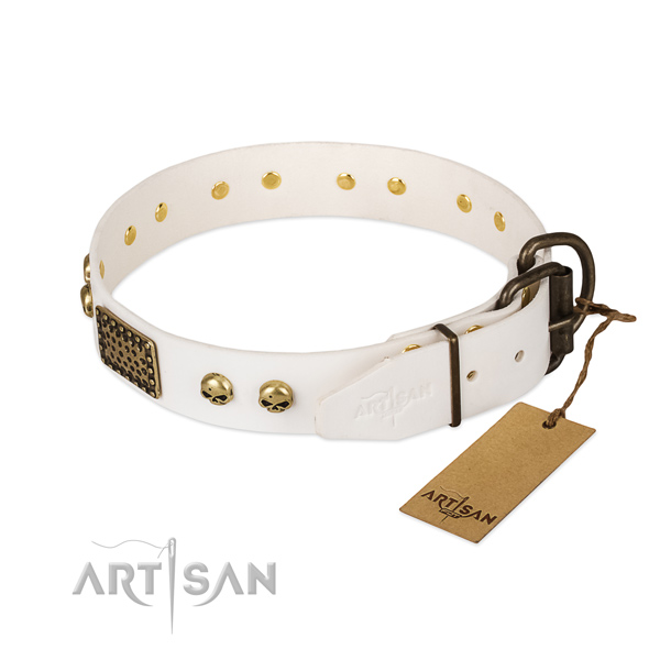 Adjustable genuine leather dog collar for walking your canine