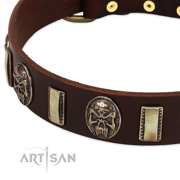 Rust-proof D-ring on full grain genuine leather dog collar for your four-legged friend