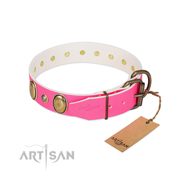 Everyday walking flexible genuine leather dog collar